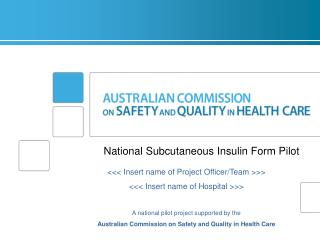 National  Subcutaneous  Insulin  Form Pilot