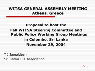 WITSA GENERAL ASSEMBLY MEETING Athens, Greece