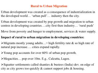 Rural to Urban Migration