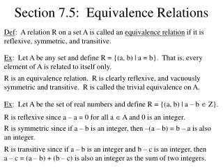 Section 7.5:  Equivalence Relations