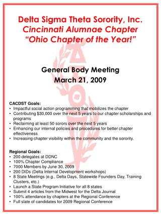 "Delta Sigma Theta Sorority, Inc. Cincinnati Alumnae Chapter ""Ohio Chapter of the Year!"""
