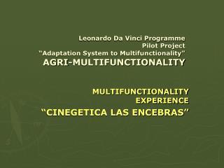 """MULTIFUNCTIONALITY EXPERIENCE """"CINEGETICA LAS ENCEBRAS"""""""
