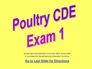Poultry CDE  Exam 1