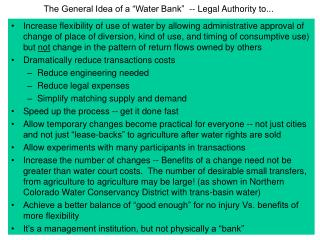 "The General Idea of a ""Water Bank""  -- Legal Authority to..."