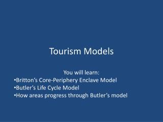 Tourism Models