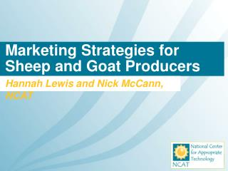 Marketing Strategies for Sheep and Goat Producers