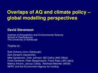 Overlaps of AQ and climate policy –  global modelling perspectives