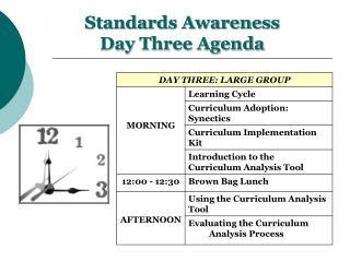 Standards Awareness Day Three Agenda