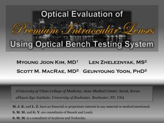 Optical Evaluation of  Premium Intraocular Lenses  Using Optical Bench Testing System