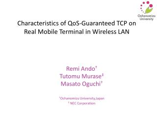 Characteristics of QoS-Guaranteed TCP on Real Mobile Terminal in Wireless LAN