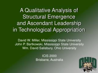 David W. Miller, Mississippi State University John P. Bartkowski, Mississippi State University