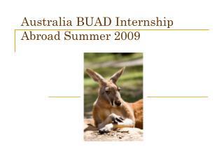 Australia BUAD Internship Abroad Summer 2009