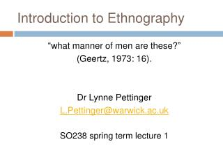 Introduction to Ethnography