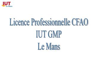 Licence Professionnelle CFAO IUT GMP Le Mans