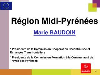 Région Midi-Pyrénées Marie BAUDOIN