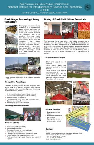 Agro-Processing and Natural Products (AP&NP) Division
