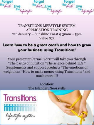 TRANSITIONS LIFESTYLE SYSTEM APPLICATION TRAINING 21 st  January – Sunshine Coast 9.30am – 5pm