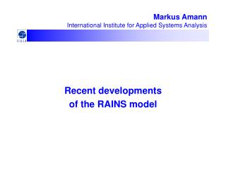 Markus Amann International Institute for Applied Systems Analysis