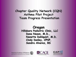 Chapter Quality Network (CQN) Asthma Pilot Project  Team Progress Presentation