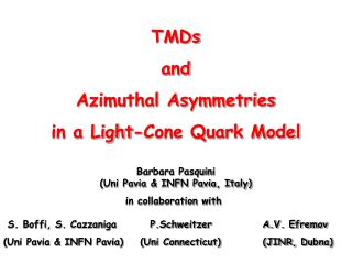 TMDs  and Azimuthal Asymmetries in a Light-Cone Quark Model