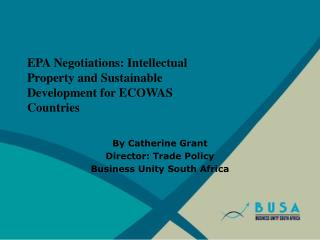 EPA Negotiations: Intellectual Property and Sustainable Development for ECOWAS Countries