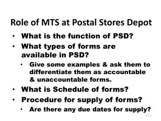 Role of MTS at Postal Stores Depot