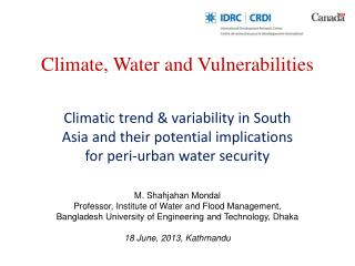 Climate, Water and Vulnerabilities