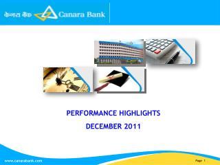 PERFORMANCE HIGHLIGHTS DECEMBER 2011