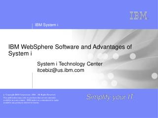 IBM WebSphere Software and Advantages of System i