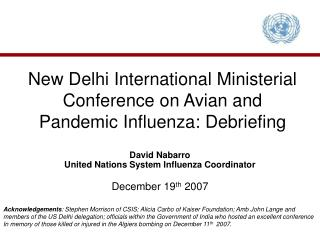 New Delhi International Ministerial Conference on Avian and Pandemic Influenza: Debriefing