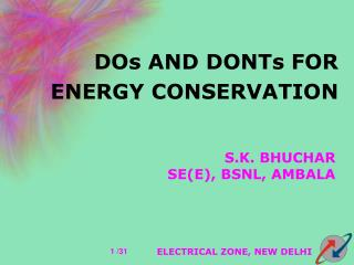 DOs AND DONTs FOR ENERGY CONSERVATION