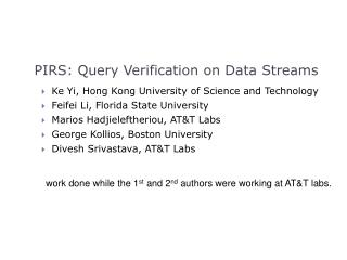 PIRS: Query Verification on Data Streams