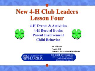 New 4-H Club Leaders Lesson Four