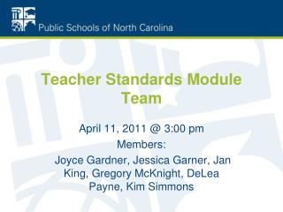 Teacher Standards Module Team