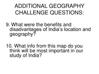 ADDITIONAL GEOGRAPHY CHALLENGE QUESTIONS: