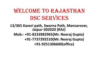 Welcome to Rajasthan DSC Services
