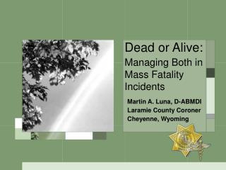 Dead or Alive: Managing Both in Mass Fatality Incidents