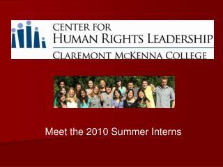 Meet the 2010 Summer Interns