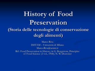 History of Food Preservation  (Storia delle tecnologie di conservazione degli alimenti)