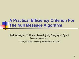 A Practical Efficiency Criterion For The Null Message Algorithm