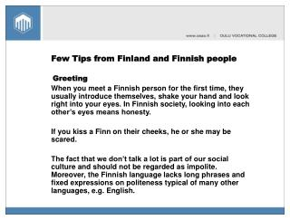 Few Tips from Finland and Finnish people