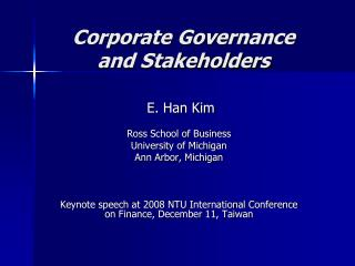 Corporate Governance and Stakeholders