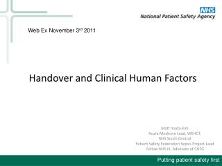 Handover and Clinical Human Factors