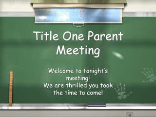 Title One Parent Meeting