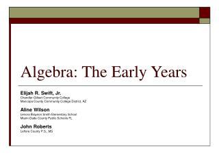 Algebra: The Early Years