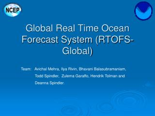 Global Real Time Ocean Forecast System (RTOFS-Global)