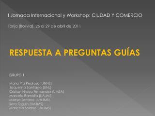 I  Jornada Internacional  y Workshop: CIUDAD Y COMERCIO