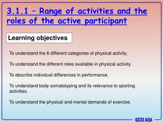 3.1.1 – Range of activities and the roles of the active participant