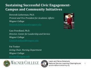 Sustaining Successful Civic Engagement- Campus and Community Initiatives