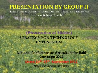 National  Conference on Agriculture for Rabi Campaign 2012 Dated 24 th  -25 th   September 2012